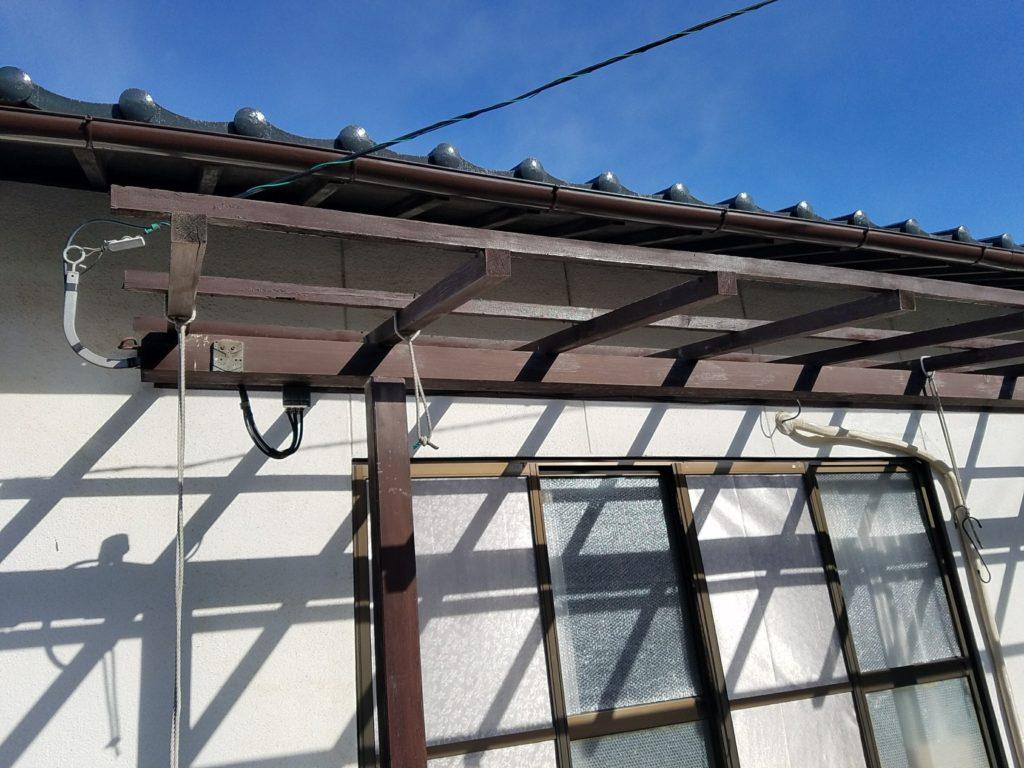 古い波板撤去 木部塗装