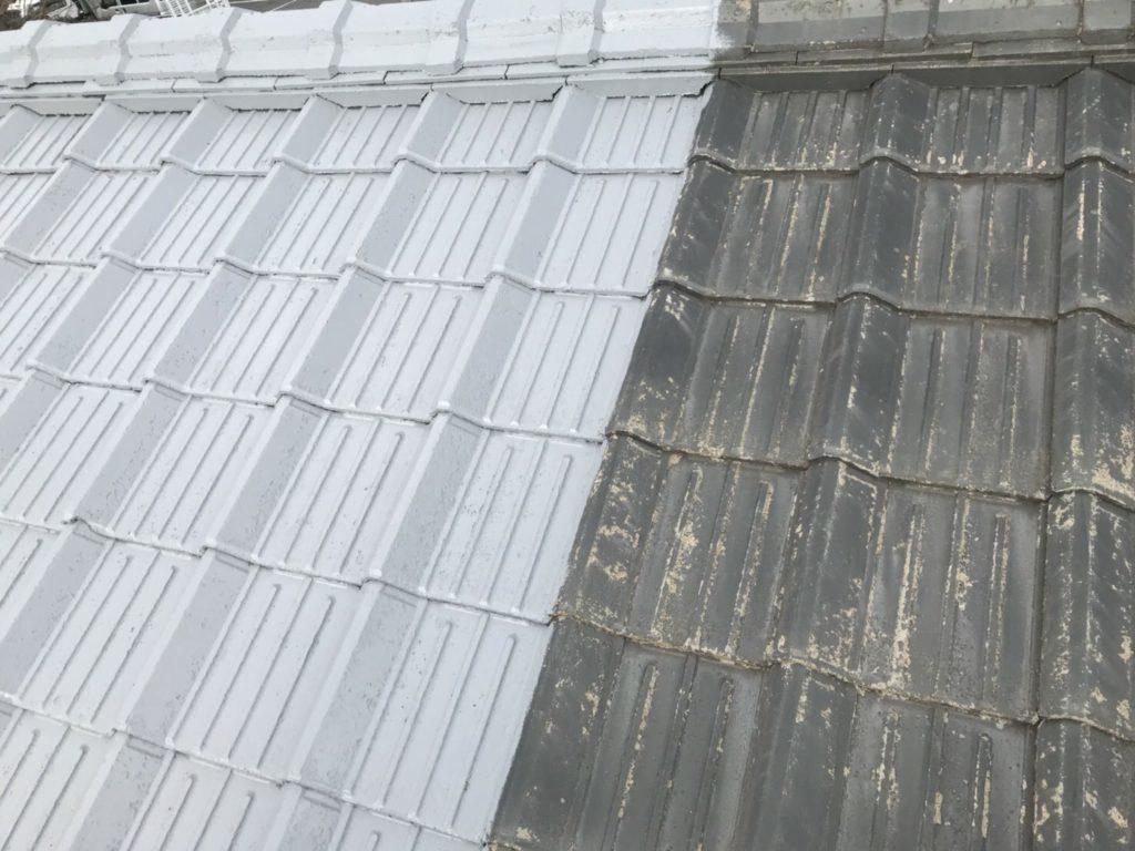 セメント瓦屋根 下塗り 密着シーラー塗布
