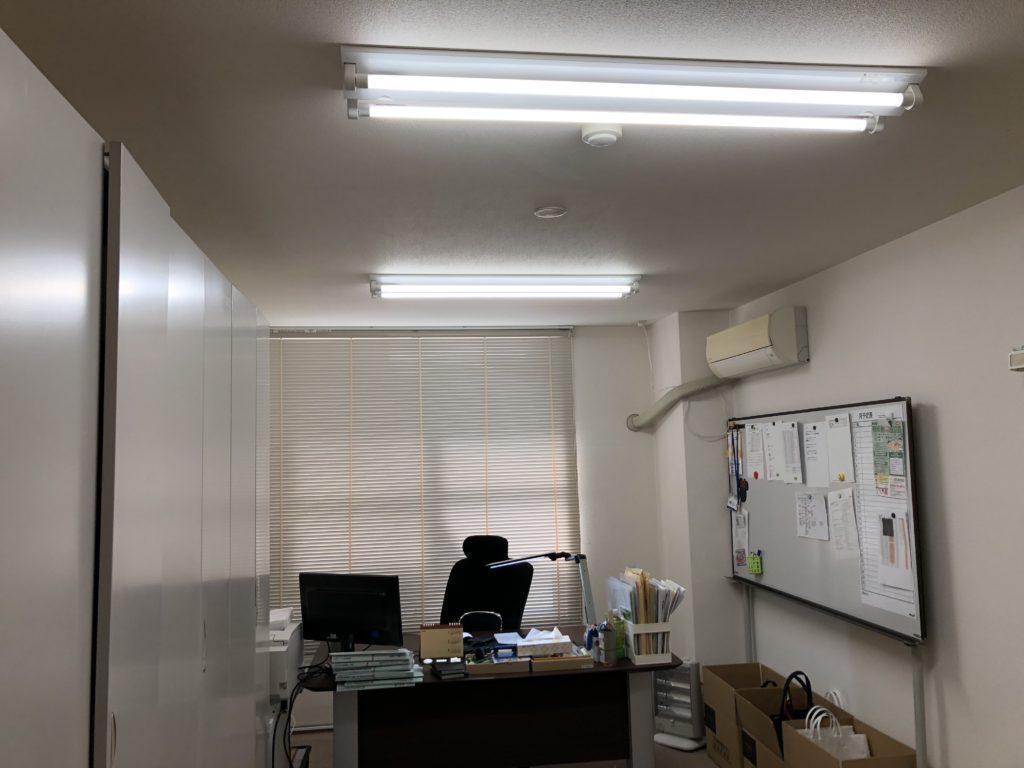施工後 ブラインド取付 LED照明器具取付