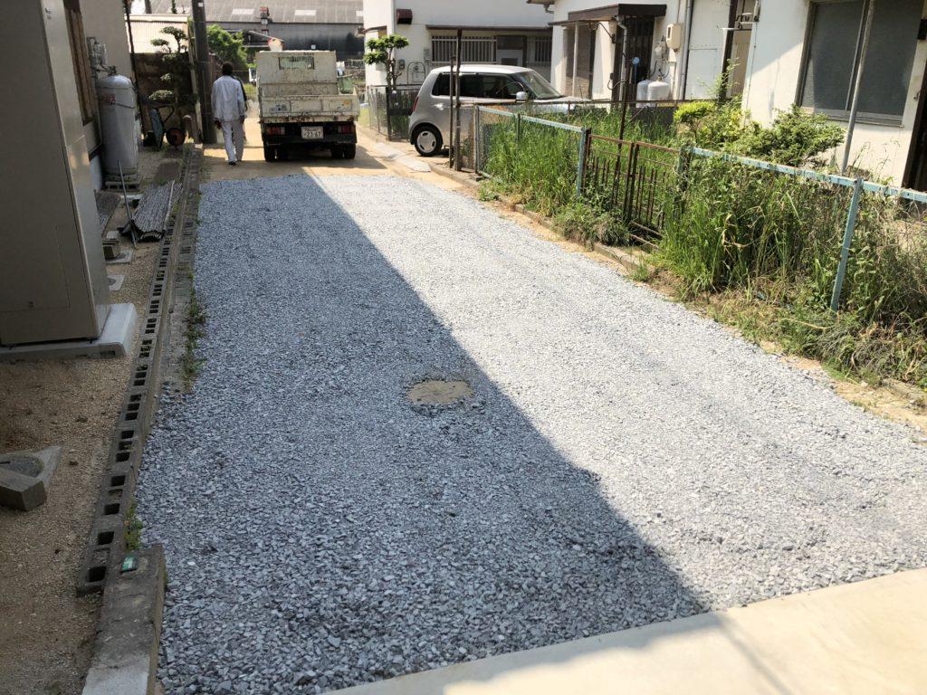 施工後 外構工事 クラッシャーラン敷き